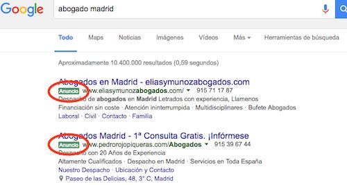 posicionamiento web, anuncios google